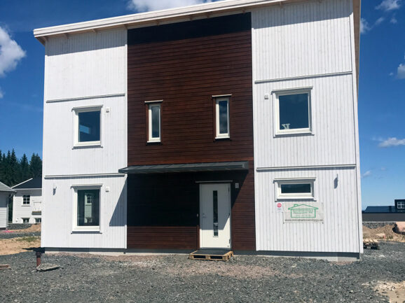 Fasad på nybyggd villa